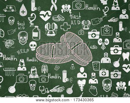 Medicine concept: Chalk Pink Pills icon on School board background with  Hand Drawn Medicine Icons, School Board