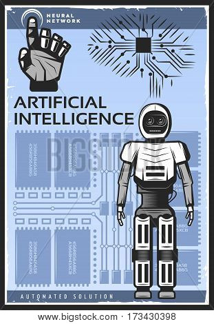 Vintage artificial intelligence poster with android cybernetic arm and neural network on technologic background vector illustration