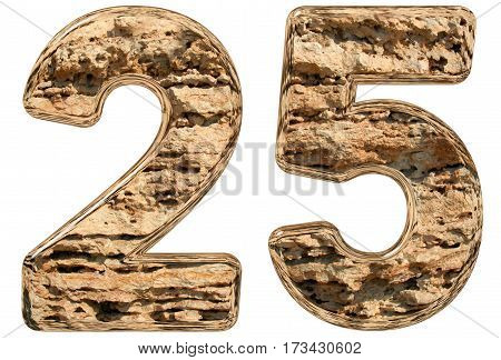 Numeral 25, Twenty Five, Isolated On White, Natural Limestone, 3D Illustration