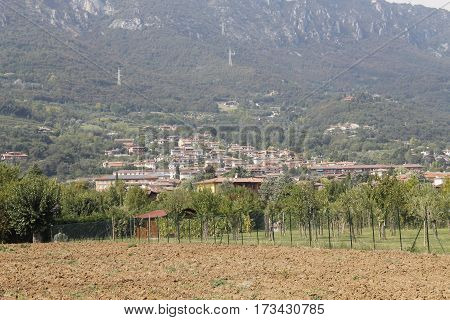 Agricultural landscape with town of Botticino in Italy