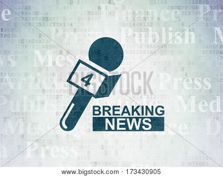 News concept: Painted blue Breaking News And Microphone icon on Digital Data Paper background with  Tag Cloud