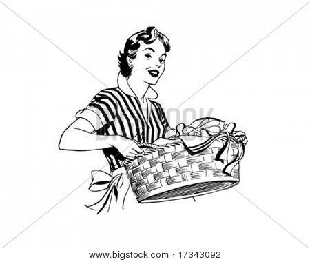 Lady With Laundry Basket - Retro Clip Art