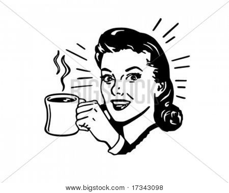 Coffee Gal With Hot Cup Of Java