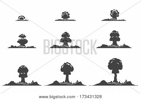 Explosion silhouettes animation collection with fog and smoke effects in monochrome style isolated vector illustration