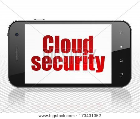 Cloud computing concept: Smartphone with red text Cloud Security on display, 3D rendering