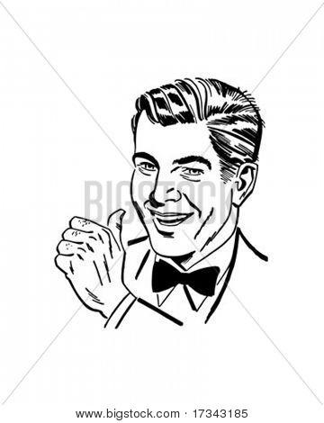 Homem com Thumbs Up - Retro Clip-Art
