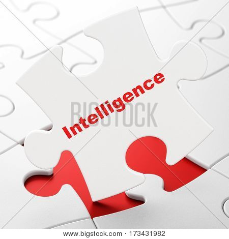 Learning concept: Intelligence on White puzzle pieces background, 3D rendering