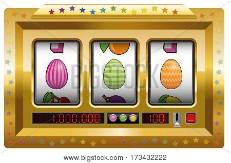 Easter egg slot machine. Isolated vector illustration on white background.