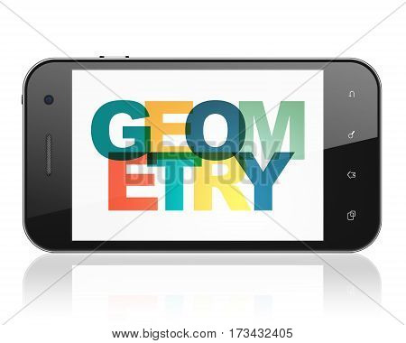 Learning concept: Smartphone with Painted multicolor text Geometry on display, 3D rendering