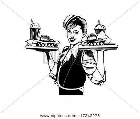 Retro Waitress - Clip Art