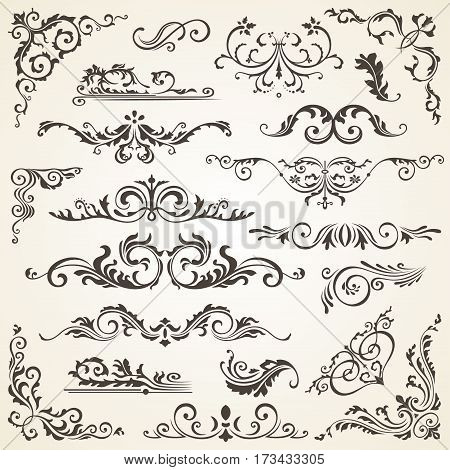 Vector set of Swirl Elements for design. Vector set of Calligraphic Design Elements for page decoration, Labels, banners, antique and baroque Frames and floral ornaments. Old paper Decoration