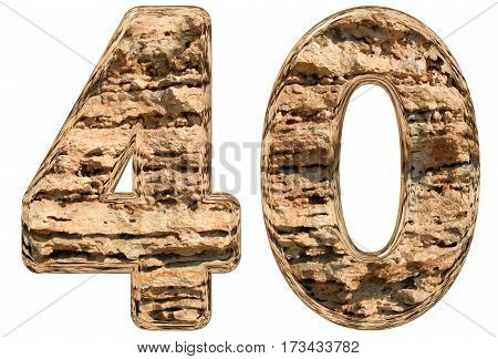 Numeral 40, Forty, Isolated On White, Natural Limestone, 3D Illustration