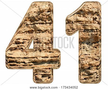 Numeral 41, Forty One, Isolated On White, Natural Limestone, 3D Illustration