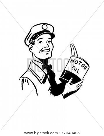 Serviceman With Motor Oil - Retro Clip Art