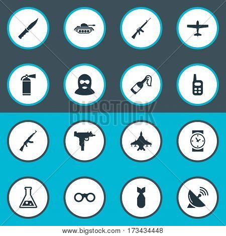 Set Of 16 Simple Army Icons. Can Be Found Such Elements As Sky Force, Molotov, Field Glasses And Other.