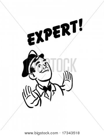Expert - Gas Station Mechanic - Retro Clip Art