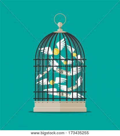 Bird cage with flying money. Investment and savings. Vector illustration in flat style