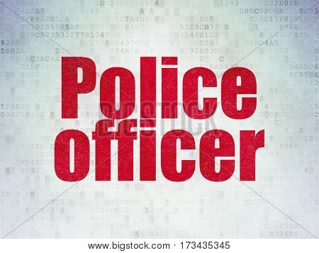 Law concept: Painted red word Police Officer on Digital Data Paper background