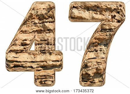 Numeral 47, Forty Seven, Isolated On White, Natural Limestone, 3D Illustration