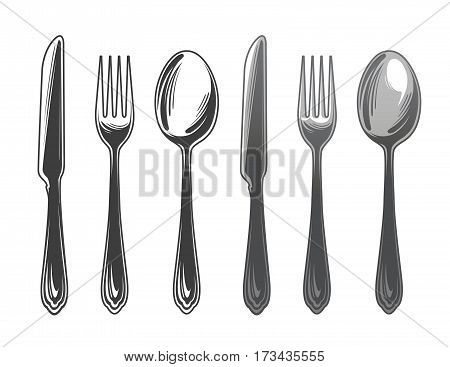 Cutlery set spoon, fork and knife. Tableware, top view. Vector illustration isolated on white background