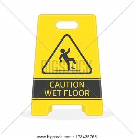 Yellow sign caution wet floor isolated on white background. Plate of Cleaning in progress. Modern flat design element for web banners, web sites, printed materials or infographics. Vector EPS 10.