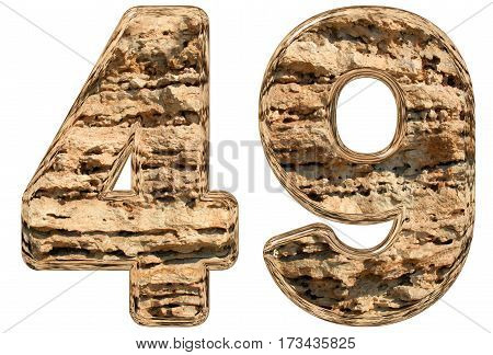 Numeral 49, Forty Nine, Isolated On White, Natural Limestone, 3D Illustration