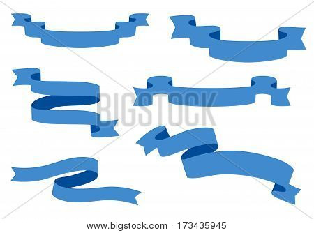 Collection of Ribbons - With blue ribbons - vector eps10