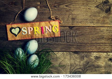 Easter Eggs on Fresh Green Grass on Wooden Background. Top View. Horizontal with Copy Space. Easter or Spring Concept.