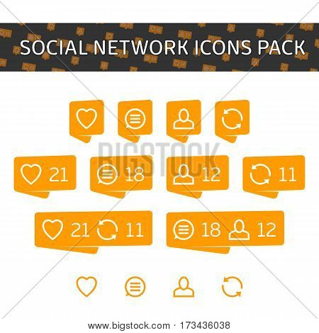 Like, comment, follow and repost. Social network icons pack isolated on white background. Notification Tooltip with heart, user, speech bubble, counter. Modern Orange social network icons pack. EPS 10