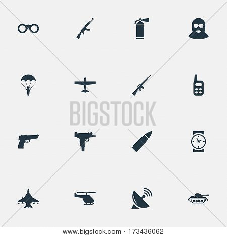 Set Of 16 Simple Terror Icons. Can Be Found Such Elements As Air Bomber, Helicopter, Rifle Gun And Other.