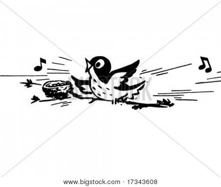 Chirping Bird - Retro Clip Art