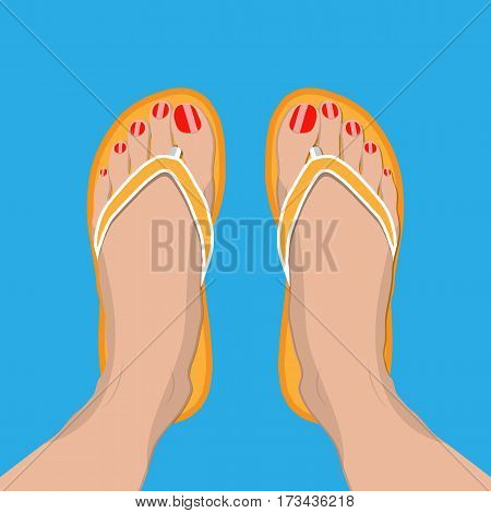 Female feet with red pedicure in summer flip-flops. Woman in slippers. Vector illustration in flat style