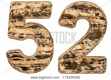 Numeral 52 fifty two isolated on white natural limestone 3d illustration