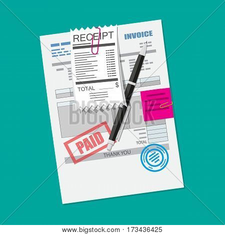 Paper invoice form with seal. Pinned receipt bill. Pen. Tax payment, accounting, financial audit. Vector illustration in flat style