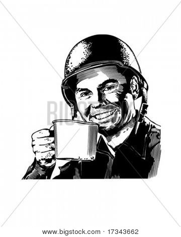 GI CuppaJoe - WWII Enlisted Man - Retro Clip Art