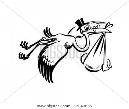 Stork Carrying New Baby - Retro Clip Art