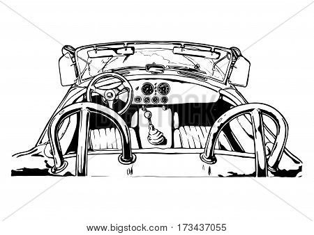 Vector illustration of roadster interior stylized as engraving.