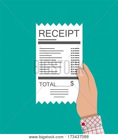 Hand holds receipt. Paper invoice. Total bill with dollar symbol. Vector illustration in flat style