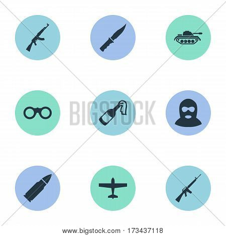 Set Of 9 Simple Terror Icons. Can Be Found Such Elements As Ammunition, Rifle Gun, Field Glasses And Other.