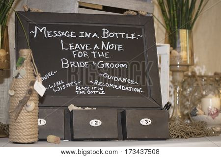 Chalk Board Message for Bride and Groom
