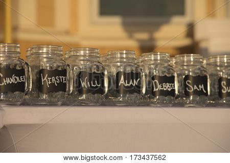 Chalk Board Glass Jars with Individual Names