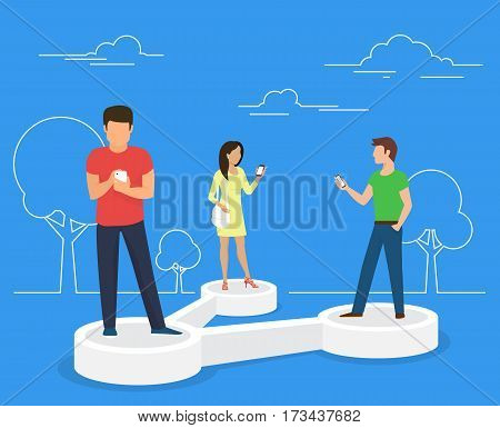 Share data concept illustration of young people using mobile smartphone for sharing posts in social networks. Flat people standing on 3d symbol and reposting images and news to each other