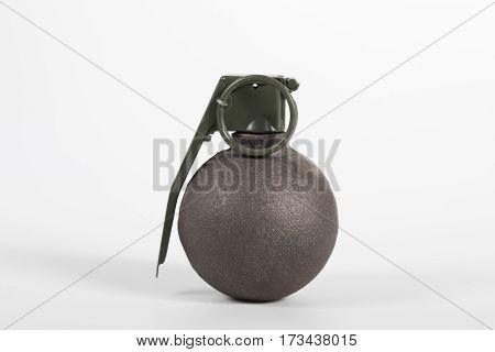 Baseball type grenade isolated on white background.