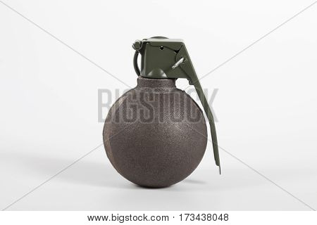Basball type grenade isolated on white background.
