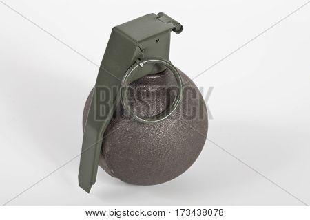 Baseball type grenade isolate on white background.