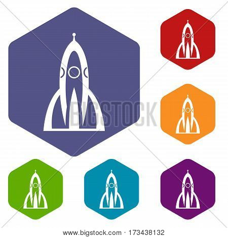 Rocket icons set rhombus in different colors isolated on white background