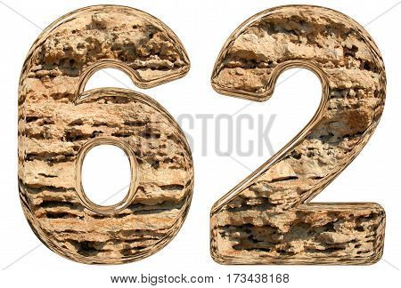Numeral 62, Sixty Two, Isolated On White, Natural Limestone, 3D Illustration