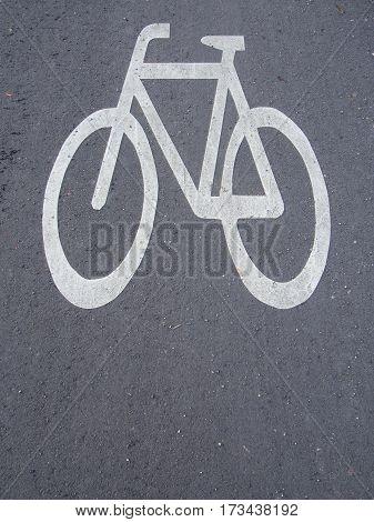 Traffic Sign: Bicycle Symbol On An Asphalt Bikeway In Berlin Germany