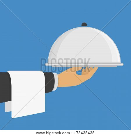 Silver cloche in the hand. Restaurant plate in hands the waiter. Food serving tray. Vector illustration in modern flat style. EPS 10.
