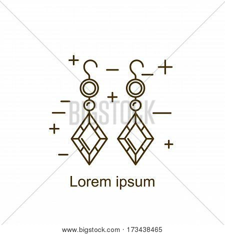Jewelry earring symbol vector illustration. Diamond logo symbol. Fashion luxury gift icon isolated. Gold brilliant silver gem crystal accessories silhouette